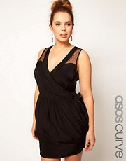 ASOS CURVE Exclusive Wrap Dress With Mesh