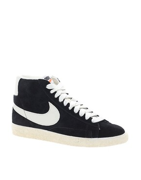 Image 1 ofNike Blazer Mid Black Suede Trainers