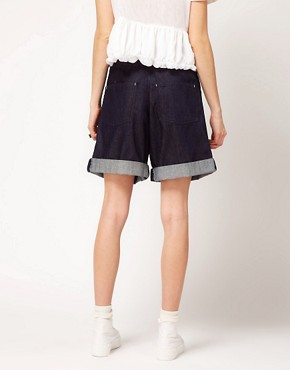 Image 2 ofASOS REVIVE Denim Shorts with Cross Front Detail