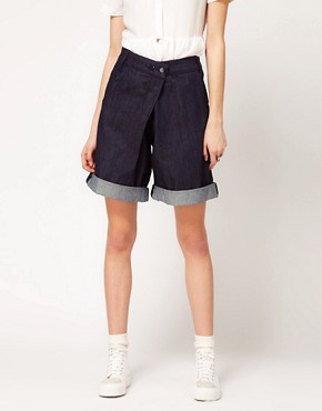 Image 4 ofASOS REVIVE Denim Shorts with Cross Front Detail