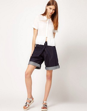 Image 1 ofASOS REVIVE Denim Shorts with Cross Front Detail