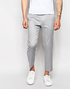 ASOS Skinny Cropped Trousers In Grey Linen Mix