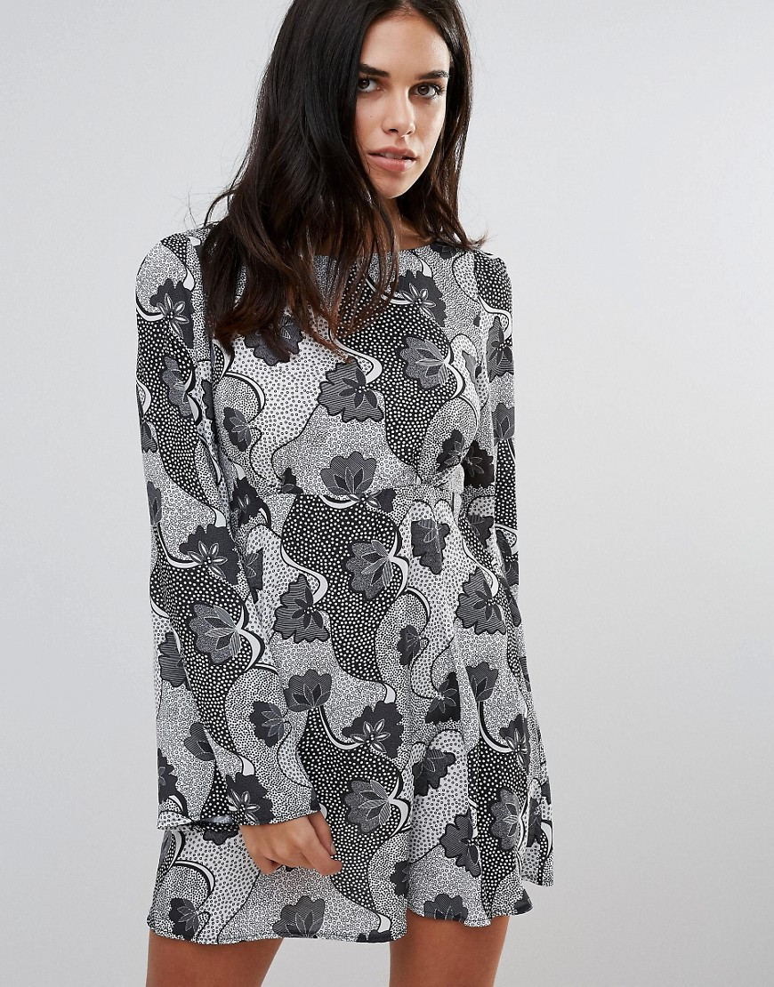 Love Monochrome Print Smock Dress - Multi
