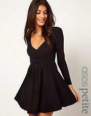 ASOS PETITE Exclusive Skater Dress With Ballet Wrap And Long Sleeves