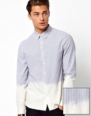 ASOS Dip Dye Shirt With Ticking Stripe