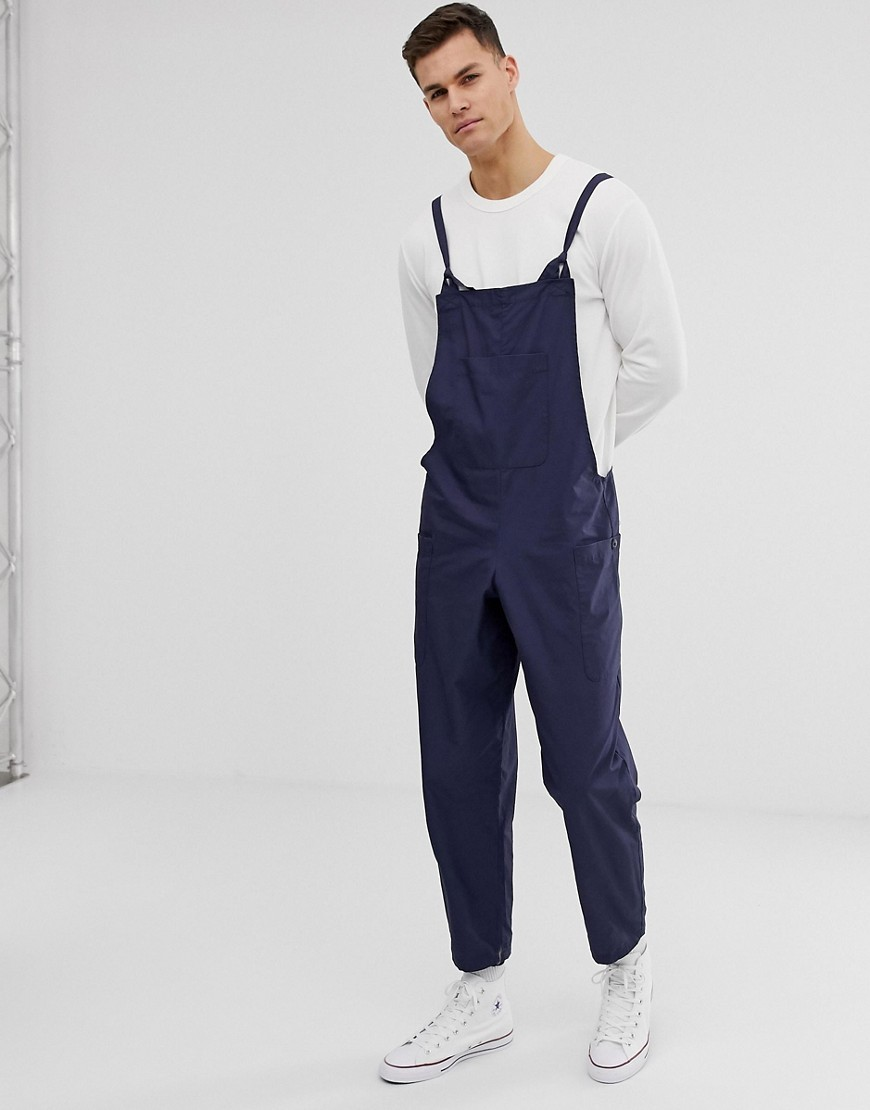 ASOS DESIGN relaxed dungarees in navy