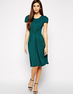 Love Textured Midi Dress with Pleat Detail
