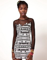 Fairground Mr. Robotic Print and Mesh Dress