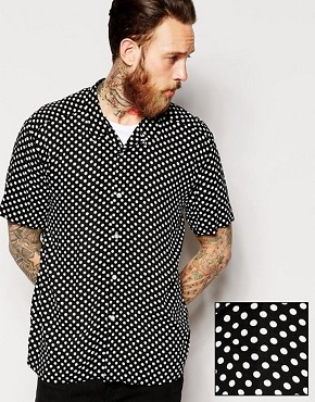 ASOS Shirt In Short Sleeve With Polka Dot Print