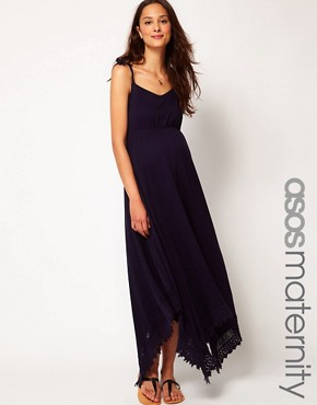 Image 1 ofASOS Maternity Maxi Dress With Lace Trim