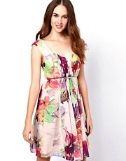 Ted Baker Orchid Print Day Dress with Belt