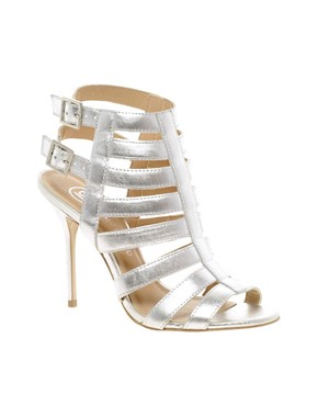 Image 1 ofRiver Island Olivia Caged Heeled Sandals