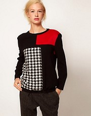 ASOS Sweat With Dogtooth And Faux Fur Panel