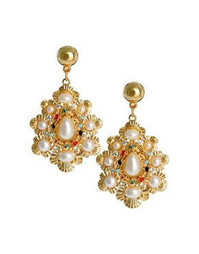 Image 1 of Limited Edition Pearl Stone Doorknocker earring
