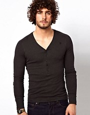 G Star Long Sleeve Top With Grandad Collar