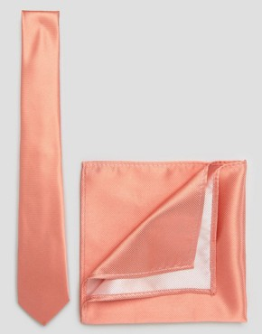 ASOS Weddinh Tie and Pocket Square Pack In Coral