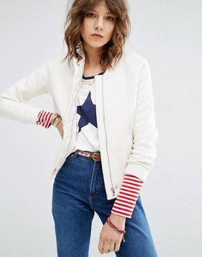 Maison Scotch Sweat Bomber Jacket With Woven Placket Detail