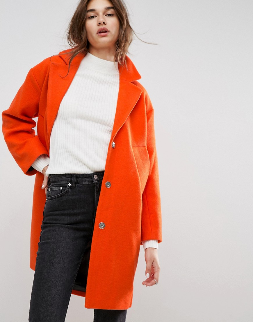 ASOS Slim Coat with Tape Detail - Orange