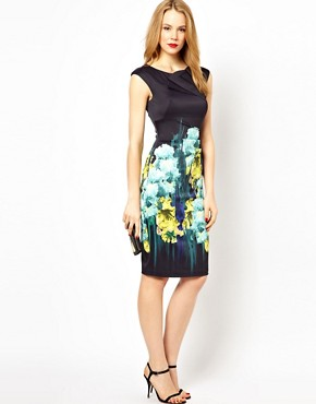 Image 4 ofKaren Millen Bodycon Dress with Iris Placement Print