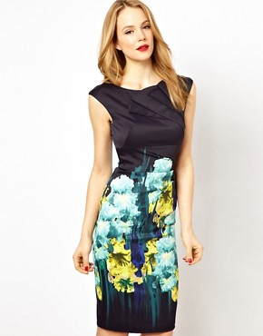 Image 1 ofKaren Millen Bodycon Dress with Iris Placement Print