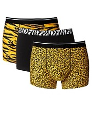 ASOS Three Pack Trunks With Animal Print