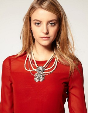 Image 1 ofASOS Statement Pearl and Jewel Choker Necklace