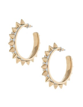 Image 1 ofKitson White Enamel Post Spike Hoop Earrings