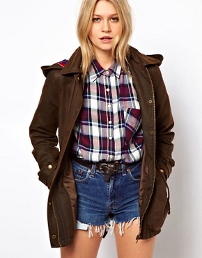 Image 1 ofASOS Waxed Hooded Jacket With Check Lined Hood