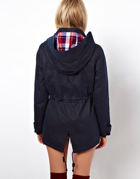 Image 2 ofASOS Waxed Hooded Jacket With Check Lined Hood