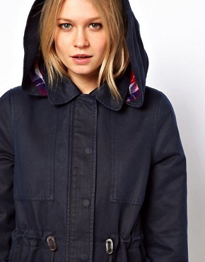 Image 3 ofASOS Waxed Hooded Jacket With Check Lined Hood