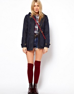 Image 4 ofASOS Waxed Hooded Jacket With Check Lined Hood