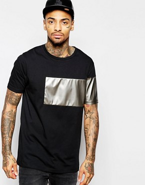 ASOS Longline T-Shirt With Metallic Leather Look Insert