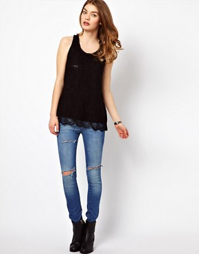 Image 4 ofBy Zoe Jersey Lace Cami with Zip Pocket