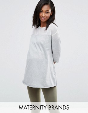Bluebelle Maternity Lounge Raw Edge Mesh Insert Sweatshirt