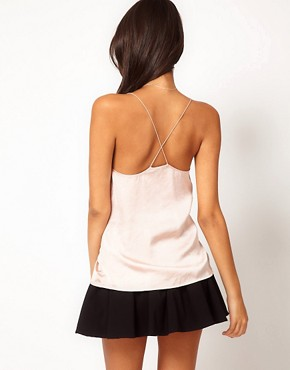 Image 2 ofASOS Cami With Skinny Straps And Sheer Panels