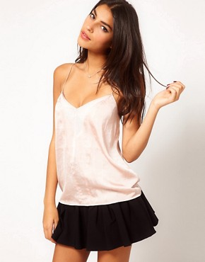Image 1 ofASOS Cami With Skinny Straps And Sheer Panels