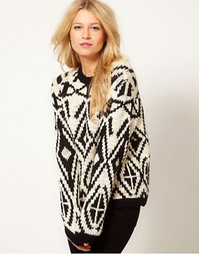 Image 1 of Oasis Intarsia Neck Sweater