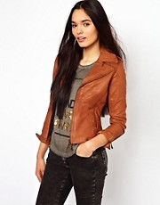 Doma Leather Biker Jacket with Front Zip