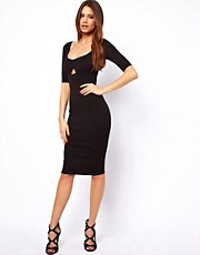 Oh My Love Midi Bodycon Dress with Cut Out