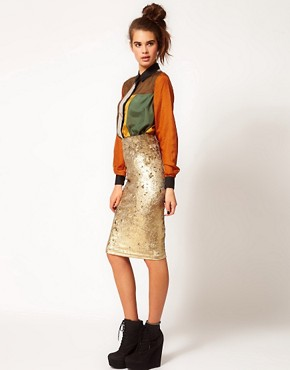 Image 1 ofRiver Island Tula Baroque Velvet Pencil Skirt