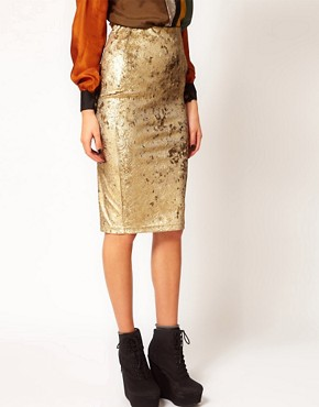 Image 4 ofRiver Island Tula Baroque Velvet Pencil Skirt