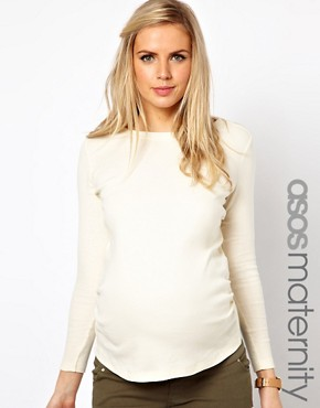 ASOS Maternity Exclusive Crew Neck Top With Long Sleeves