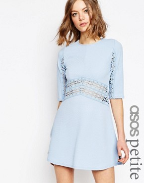 ASOS PETITE Skater Dress with Lace Insert