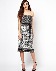 Warehouse Printed Bandeau Midi Dress