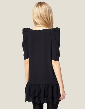 Image 2 ofASOS PETITE Exclusive Mini Dress with Scallop Hem