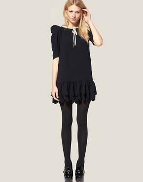 Image 4 ofASOS PETITE Exclusive Mini Dress with Scallop Hem