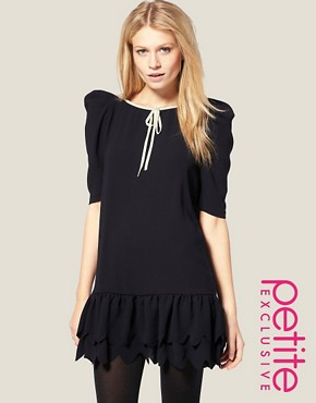 Image 1 ofASOS PETITE Exclusive Mini Dress with Scallop Hem