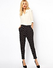 ASOS Peg Trousers In Spot Print
