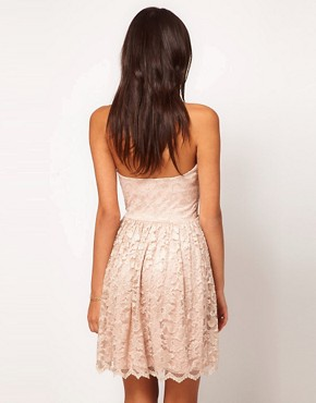Image 2 ofASOS Strapless Skater Dress in Lace