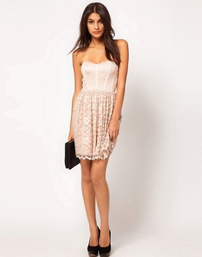 Image 4 ofASOS Strapless Skater Dress in Lace